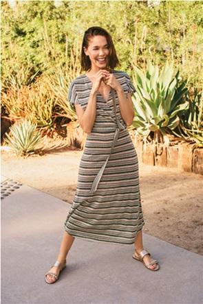 Orsay γυναικείo midi φόρεμα κρουαζέ με ριγέ σχέδιο και lurex λεπτομέρειες