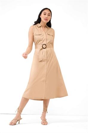 Orsay γυναικείο midi φόρεμα αμάνικο με flap τσέπες και ζώνη στη μέση