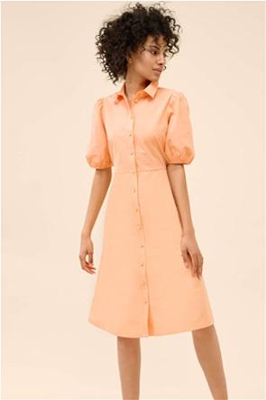 Orsay γυναικείο midi φόρεμα μονόχρωμο με puff μανίκια