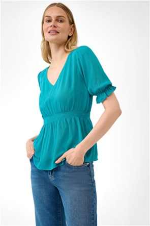 Orsay γυναικεία μπλούζα με V λαιμόκοψη και λάστιχο σφηκοφωλιά