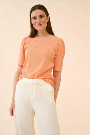 Orsay γυναικεία μπλούζα μονόχρωμη με ανάγλυφο σχέδιο και puff μανίκια