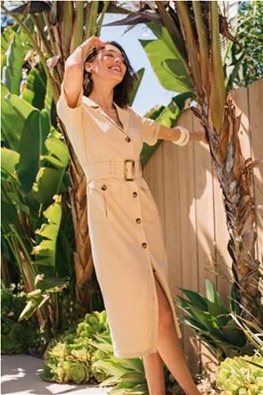 Orsay γυναικείο midi φόρεμα safari με flap τσέπες και ζώνη στη μέση