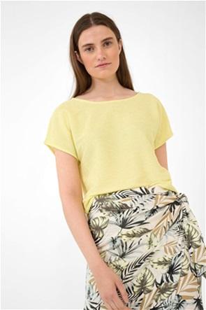 Orsay γυναικεία μπλούζα μονόχρωμη με στρογγυλή λαιμόκοψη και δέσιμο στο πίσω μέρος