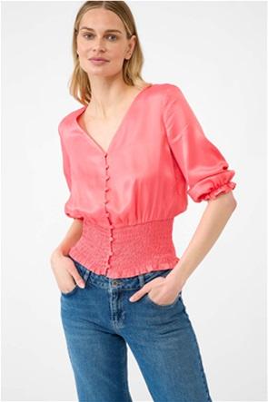 Orsay γυναικεία μπλούζα μονόχρωμη με λάστιχο σφηκοφωλιά