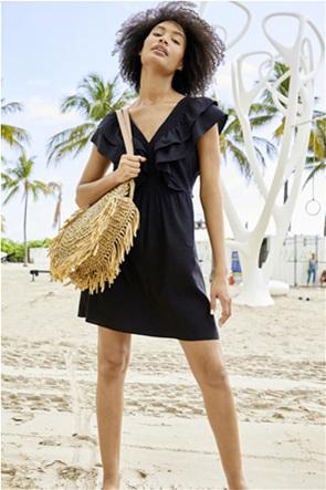 Orsay γυναικεία τσάντα ώμου ψάθινη με ξέφτια στο τελείωμα