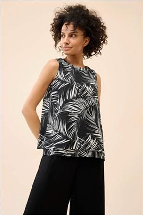Orsay γυναικεία μπλούζα αμάνικη με all-over leaf print
