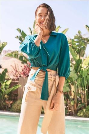 Orsay γυναικείο πουκάμισο μονόχρωμο με δέσιμο στο μπροστινό μέρος