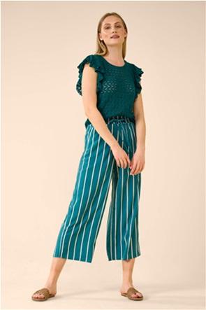 Orsay γυναικεία μπλούζα με διάτρητα κεντήματα και βολάν στο μανίκι