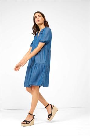 Orsay γυναικείο mini τζην φόρεμα με διακοσμητικές ραφές