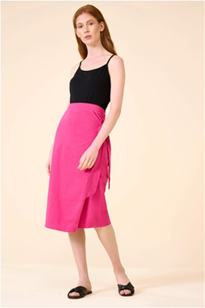 Orsay γυναικεία midi φούστα μονόχρωμη με ζώνη στο πλάι