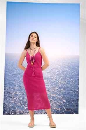 Orsay γυναικείο midi φόρεμα με διάτρητο σχέδιο και τιράντες