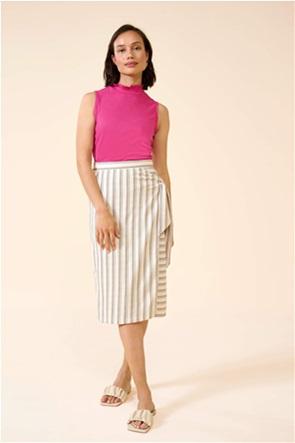 Orsay γυναικεία midi φούστα με ριγέ σχέδιο και ζώνη στο πλάι