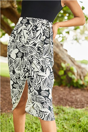 Orsay γυναικεία midi φούστα με all-over floral print και wrap effect