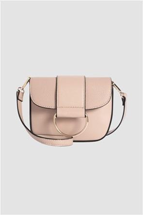 Orsay γυναικεία τσάντα ώμου με μεταλλική αγκράφα και leather look