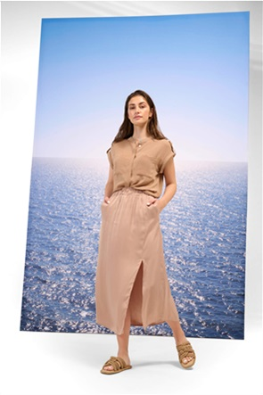 Orsay γυναικεία midi φούστα σατινέ με άνοιγμα
