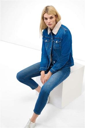 Orsay γυναικείο denim μπουφάν με γουνάκι oversized