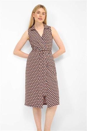 Orsay γυναικείο σατέν φόρεμα κρουαζέ με print