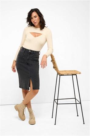 Orsay γυναικεία denim φούστα με απλικέ τσέπες
