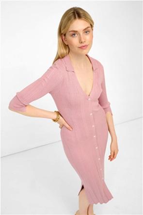 Orsay γυναικείο midi φόρεμα πόλο πλεκτό με ανάγλυφο ριγέ σχέδιο