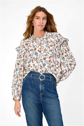 Οrsay γυναικεία μπλούζα με all-over floral print και βολάν