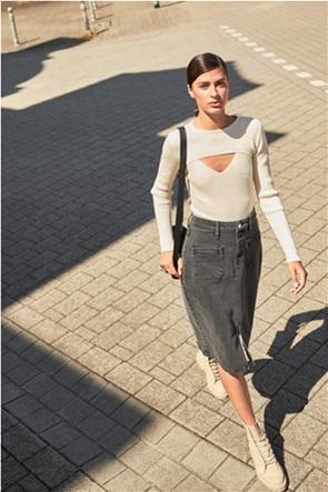 Orsay γυναικεία pencil φούστα denim με απλικέ τσέπες