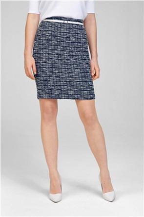 Orsay γυναικεία mini φούστα tweed με contrast ζώνη