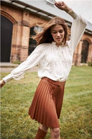 Orsay γυναικεία mini φούστα πλισέ faux leather με ζώνη