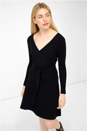 Orsay γυναικείο mini φόρεμα πλεκτό κρουαζέ με ζώνη στη μέση