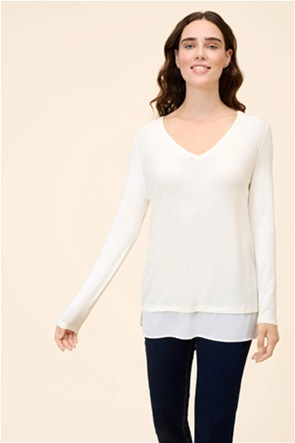 Orsay γυναικεία μπλούζα πλεκτή 2 in 1 Straight Cut