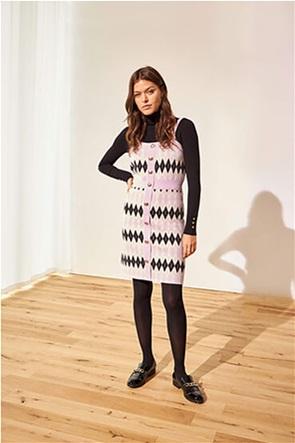 Orsay γυναικείο mini φόρεμα πλεκτό με all-over geometrical print  και τιράντες