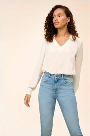 Orsay γυναικεία μπλούζα μονόχρωμη με V λαιμόκοψη Loose Fit