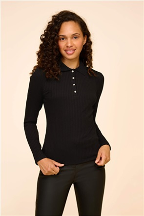Osray γυναικεία πόλο μπλούζα με ανάγλυφο ριγέ σχέδιο