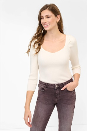 Orsay γυναικεία μπλούζα πλεκτή με ανάγλυφο ριγέ σχέδιο και puff μανίκια