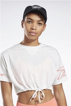 Reebok γυναικεία μπλούζα cropped με δέσιμο στο τελείωμα ''Meet You There''