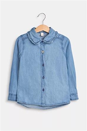 Esprit παιδικό πουκάμισο denim με βολάν λεπτομέρεια (2-9 ετών)