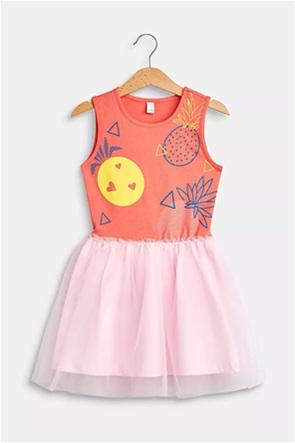 Esprit παιδικό φόρεμα αμάνικο με print και διακοσμητικό τούλι (2-9 ετών)