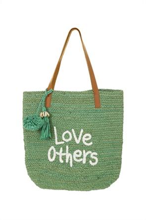 Desigual γυναικεία τσάντα χειρός με lettering και φούντες