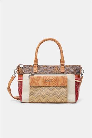 Desigual  γυναικεία τσάντα χειρός με boho print και snakeskin λεπτομέρειες ''Tripatch Padua''