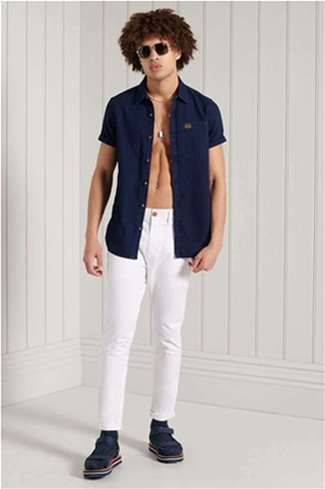 Superdry ανδρικό chino παντελόνι μονόχρωμο Slim Fit