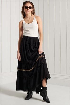 Superdry γυναικεία maxi φούστα με κεντημένες λεπτομέρειες και διακοσμητικές χάντρες ''Ameera''