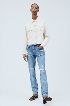 "Pepe Jeans γυναικείο mom τζην παντελόνι φθαρμένο ""Violet"""