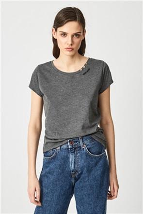 Pepe Jeans γυναικείο T-shirt με κεντημένο λογότυπο και διακοσμητικά κουμπιά ''Ragy''