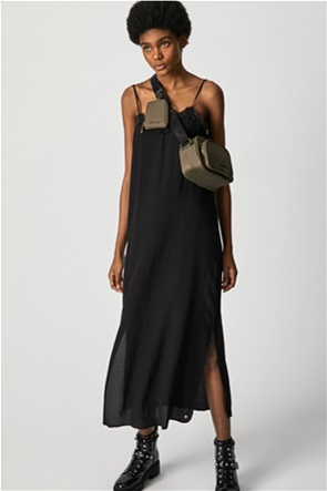 "Pepe Jeans γυναικείο mαχi φόρεμα μονόχρωμο με V λαιμόκοψη ""Amada"""