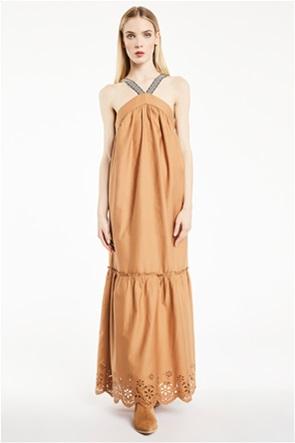 Gaudi γυναικείο maxi φόρεμα με δαντέλα κιπούρ