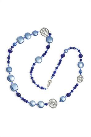 """Antica Murrina μακρύ κολιέ από γυαλί Μουράνο """"Natural Circle Blue"""" 75 cm"""