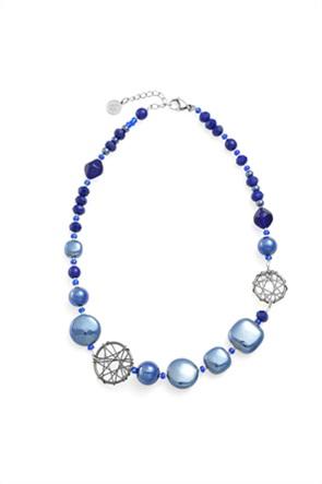 """Antica Murrina κολιέ από γυαλί Μουράνο """"Natural Circle Top Blue"""" 44-48 cm"""