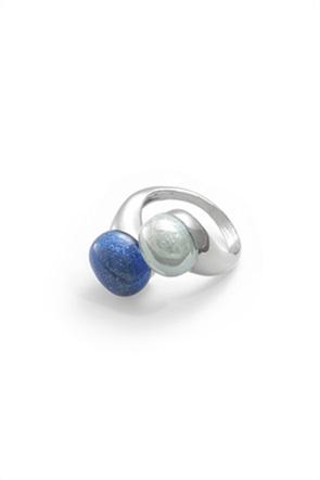 "Antica Murrina δαχτυλίδι από γυαλί Μουράνο και ατσάλι ""Camille Blue """