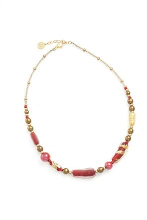 "Antica Murrina γυναικείο κολιέ από γυαλί Μουράνο ""Gabrielle Girocollo Red"" 53-54 cm"