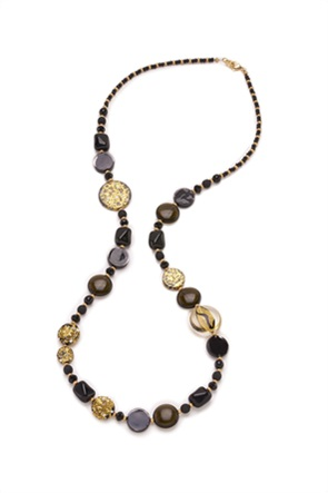 "Antica Murrina γυναικείο μακρύ κολιέ από γυαλί Μουράνο ""Isabelle Nero"" 96 cm"