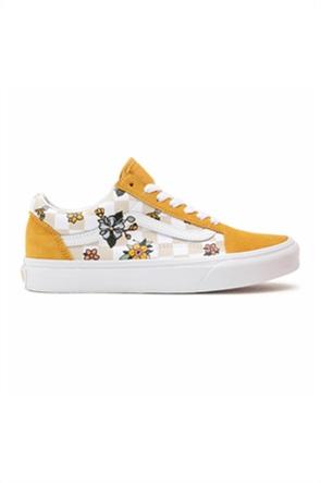 """Vans unisex sneakers με checkerboard print και floral λεπτομέρειες """"Old Skool"""""""